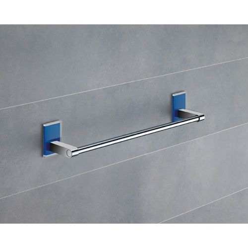 14 Inch Blue Mounting Polished Chrome Towel Bar