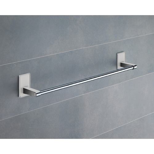 18 Inch White Mounting Polished Chrome Towel Bar
