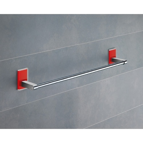 18 Inch Red Mounting Polished Chrome Towel Bar