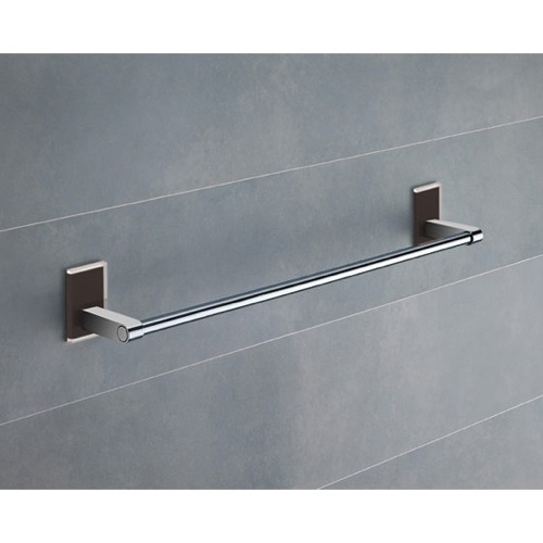18 Inch Black Mounting Polished Chrome Towel Bar