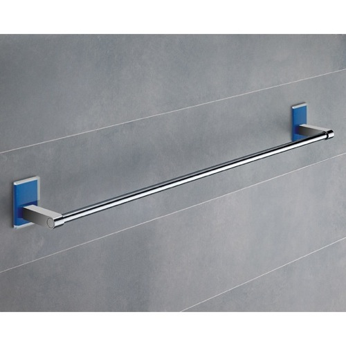24 Inch Blue Mounting Polished Chrome Towel Bar