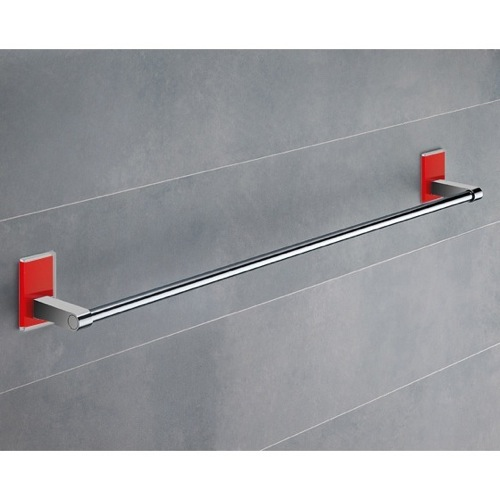 24 Inch Red Mounting Polished Chrome Towel Bar