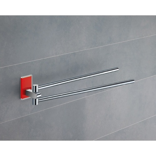 14 Inch Polished Chrome Swivel Towel Bar With Red Mounting