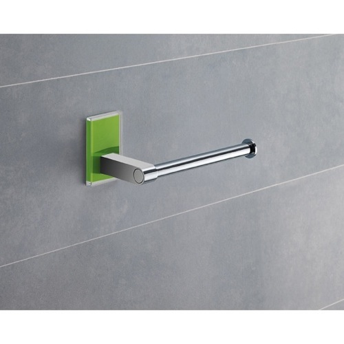 Modern Round Chrome Toilet Roll Holder With Green Mounting
