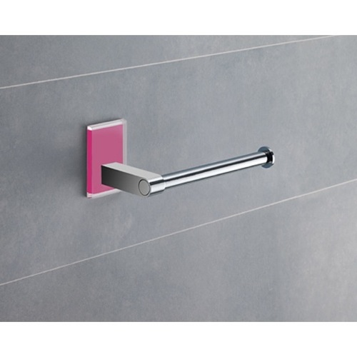 Modern Round Chrome Toilet Roll Holder With Pink Mounting