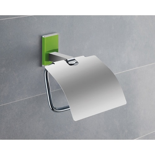 Chromed Brass Covered Toilet Roll Holder With Green Mounting