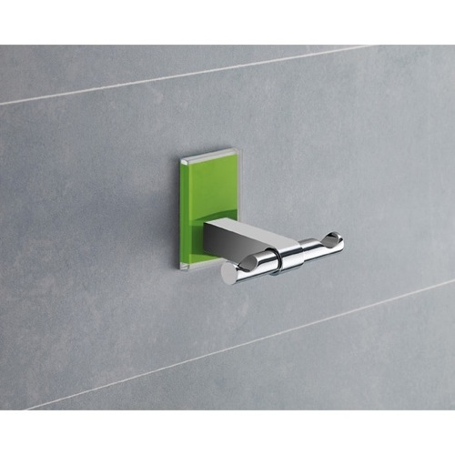 Green Mounting Polished Chrome Double Hook