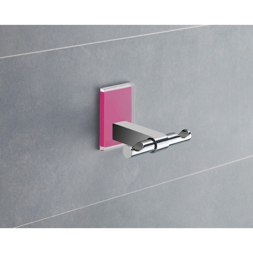 Pink Mounting Polished Chrome Double Hook
