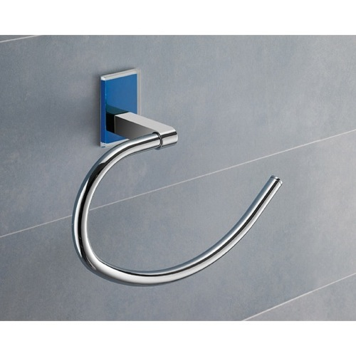 Round Blue Mounting Polished Chrome Towel Ring