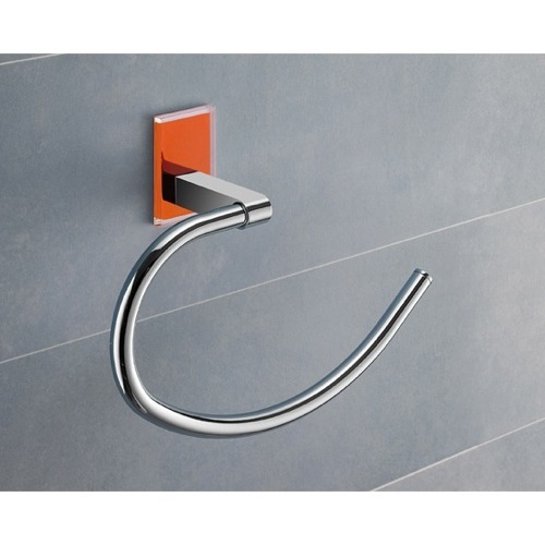 Round Orange Mounting Polished Chrome Towel Ring
