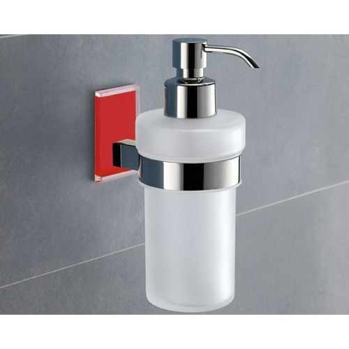 Frosted Glass Soap Dispenser With Red Mounting