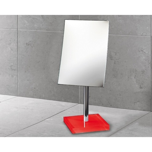 Square Magnifying Mirror with Red Base