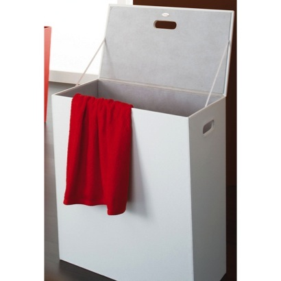 Rectangle White Faux Leather Laundry Basket