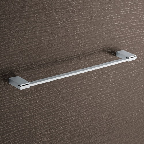 Square 18 Inch Polished Chrome Towel Bar