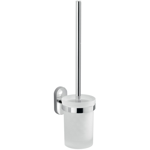 Wall Mounted Frosted Glass Toilet Brush Holder