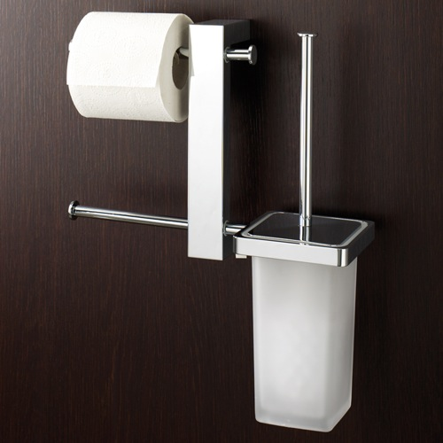 Wall Mount Chrome Rack With Tissue Holder and Toilet Brush
