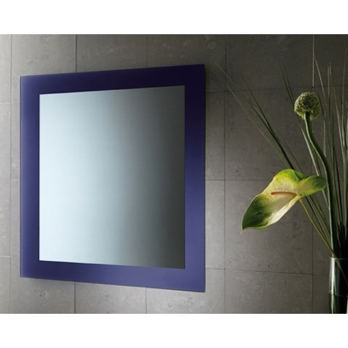 24 x 28 Inch Blue Vanity Mirror With Lacquered Frame