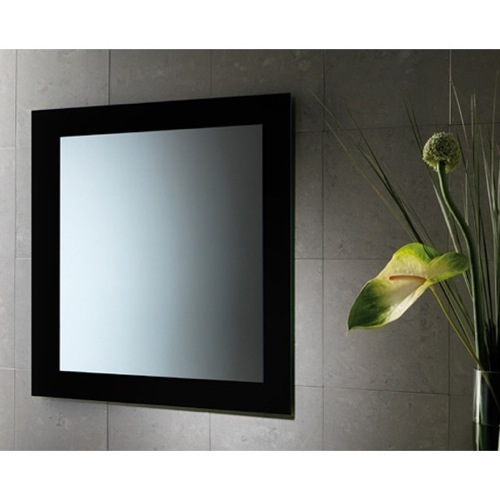 24 x 28 Inch Black Vanity Mirror With Lacquered Frame