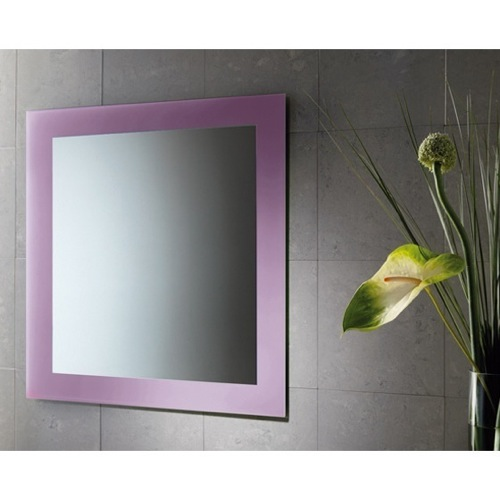 24 x 28 Inch Vanity Mirror With Lilac Lacquered Frame