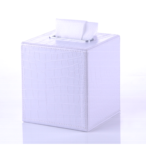 Crocodile Square Tissue Box Made From Faux Leather in White Finish