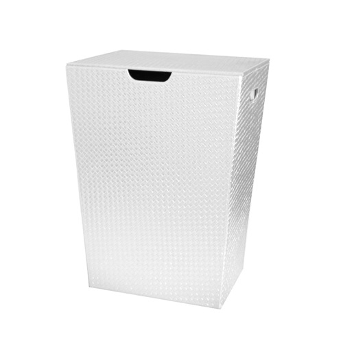 Rectangular Laundry Basket Made From Faux Leather in White Finish