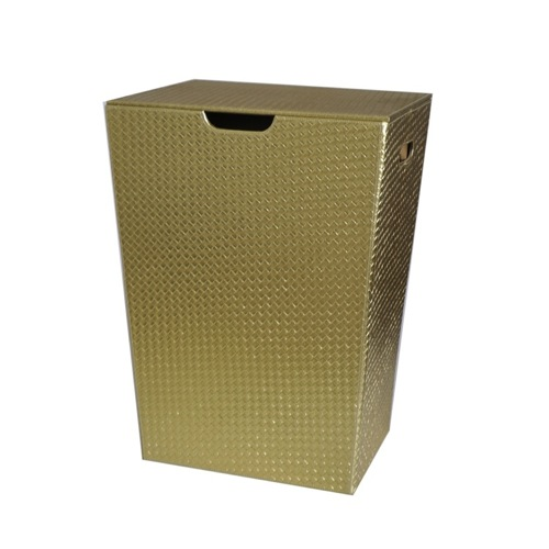 Rectangular Laundry Basket Made From Faux Leather in Gold Finish
