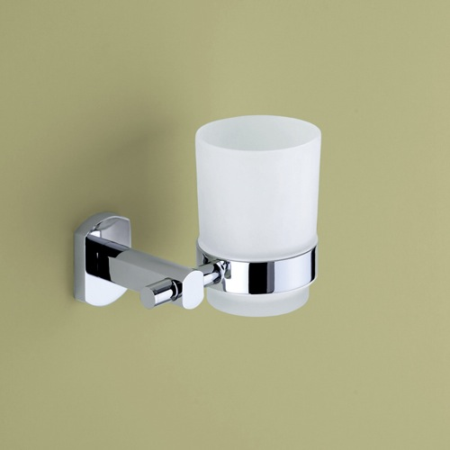 Wall Mounted Frosted Glass Tumbler With Chrome Mounting