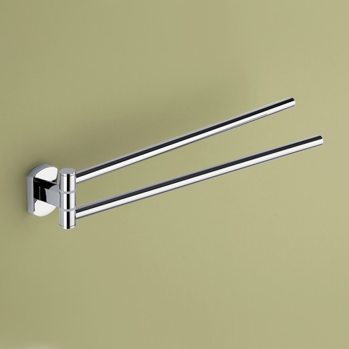 14 Inch Double Swivel Polished Chrome Towel Bar