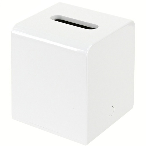 White Square Tissue Box Cover Made of Thermoplastic Resins