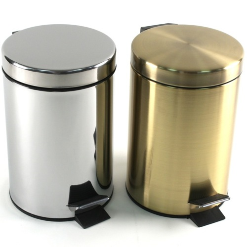 Chrome or Bronze Round Polished Waste Bin With Pedal