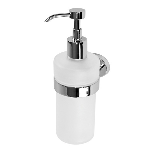 Wall Mounted Round Frosted Glass Soap Dispenser With Chrome Mounting