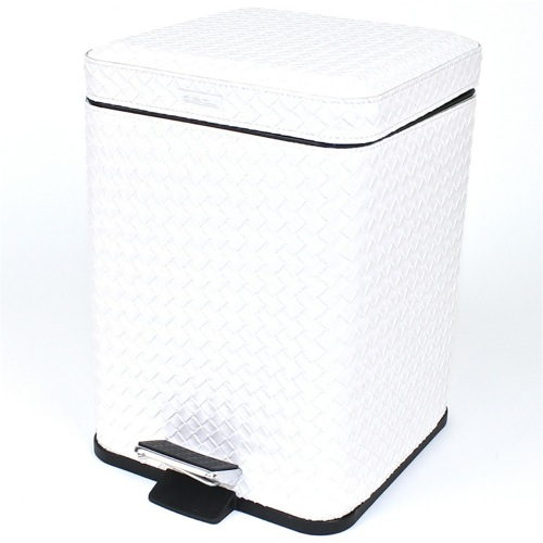 Square Pearl White Faux Leather Waste Bin With Pedal