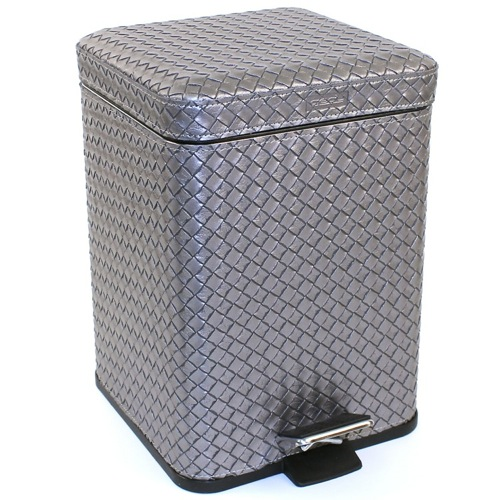 Square Old Silver Faux Leather Waste Bin With Pedal