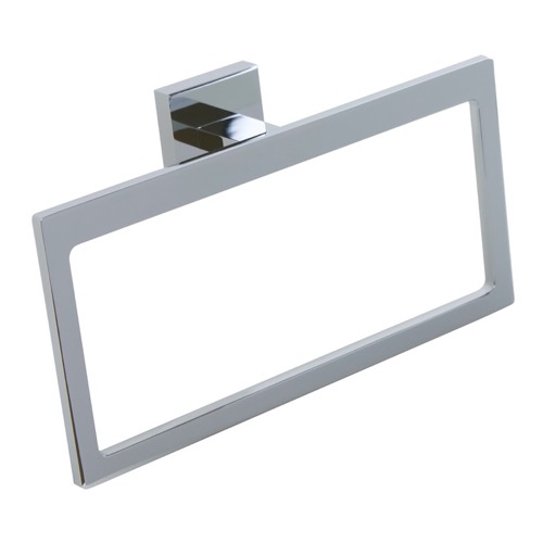 Modern Rectangular Chromed Brass and Cromall Towel Ring