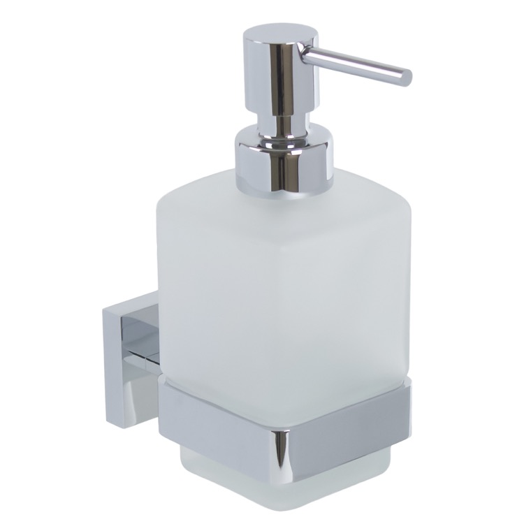 Wall Frosted Glass Soap Dispenser With Chrome Mounting
