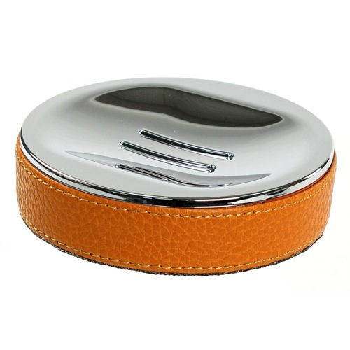 Round Soap Dish Made From Faux Leather In Orange Finish