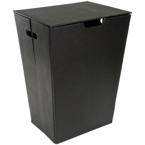 Rectangular Laundry Basket Made From Faux Leather Available in Three Finishes