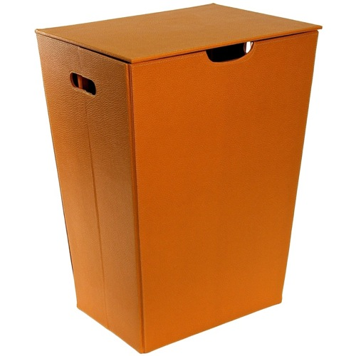 Rectangular Laundry Basket Made From Faux Leather in Orange Finish