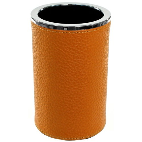 Round Toothbrush Holder Made From Faux Leather in Orange Finish