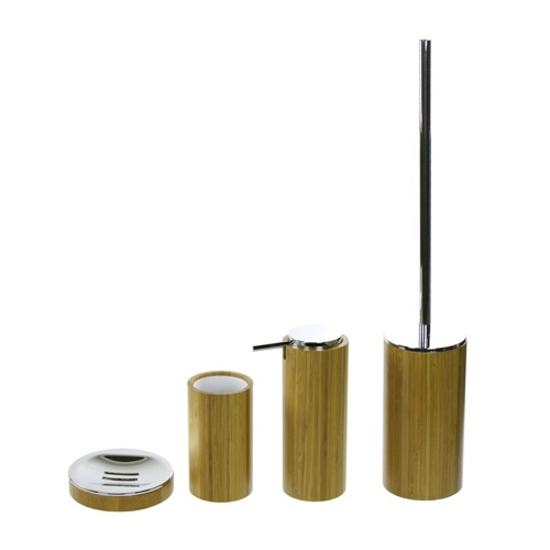 4 Piece Bathroom Accessory Set Made Of Bamboo