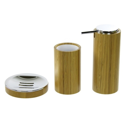3 Pc. Bamboo Bathroom Accessory Set