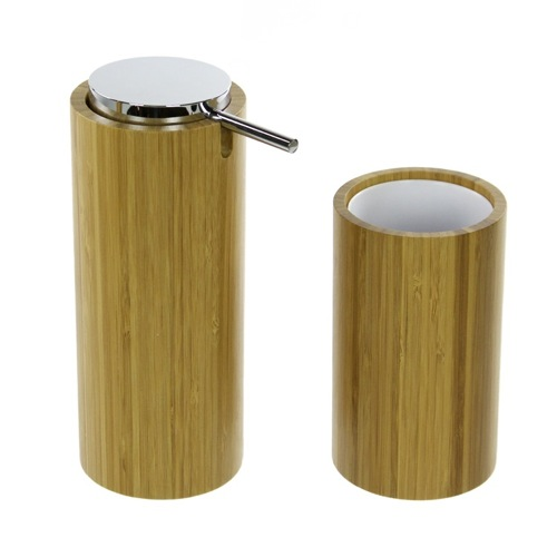 Bamboo Bathroom Accessory Set, Soap Dispenser And Toothbrush Tumbler