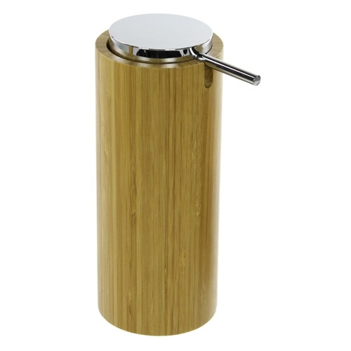 Round Free Standing Soap Dispenser in Natural Wood Finish