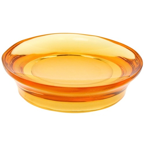 Round Soap Dish Made From Thermoplastic Resins in Orange Finish
