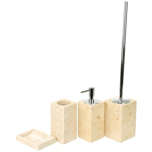 Natural Sand Bathroom Accessory Set In 4 Pieces