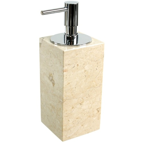 Square Beige Soap Dispenser Made from Marble