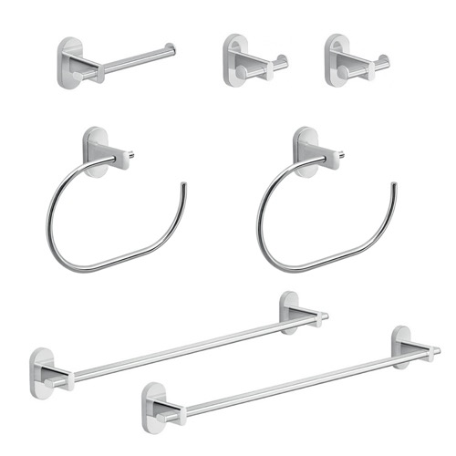 His and Hers 7 Piece Chrome Bathroom Hardware Set