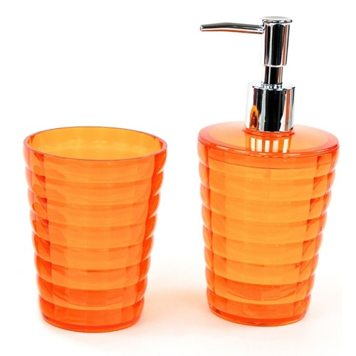 Orange Tumbler and Soap Dispenser Accessory Set