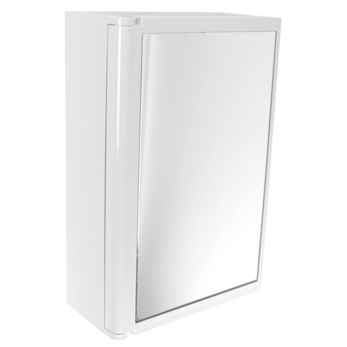 White Cabinet with Mirror Door Made of Thermoplastic Resins