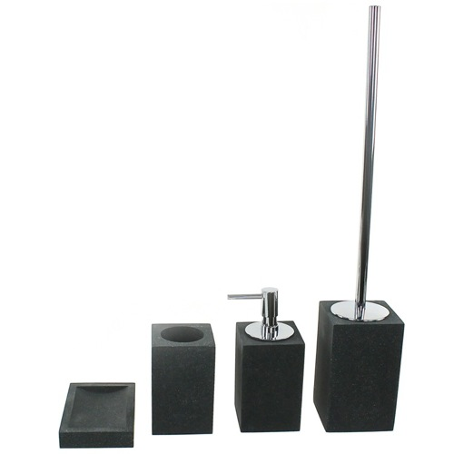Square Bathroom Accessory Set In 4 Pieces, Multiple Finishes